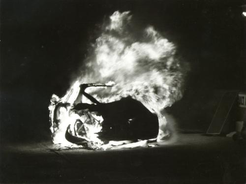 Alfa Romeo TZ-1 # 007 in flames at Sebring 1964