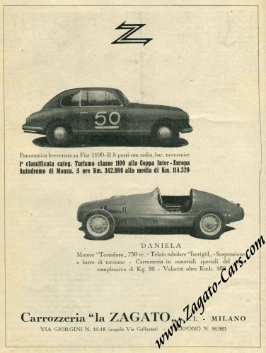 Added a vintage 1948 magazine advertisement for the Fiat 1100 B Panoramica Zagato and Daniela Testadoro Zagato