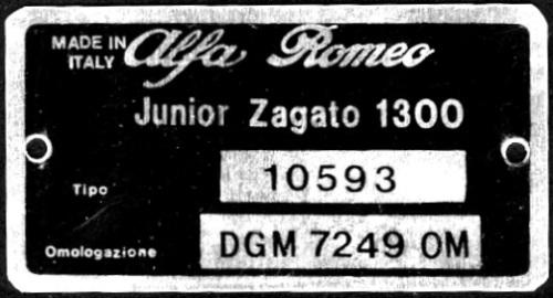 Alfa Romeo Junior Zagato 1300 Chassis Type Plate